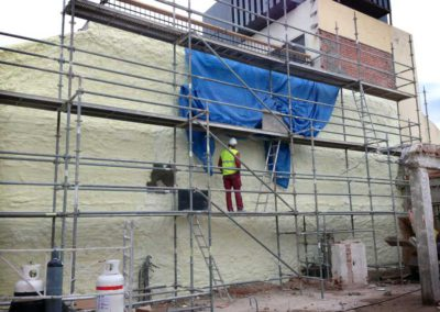 External wall insulation using FROTH-PAK sprayfoam